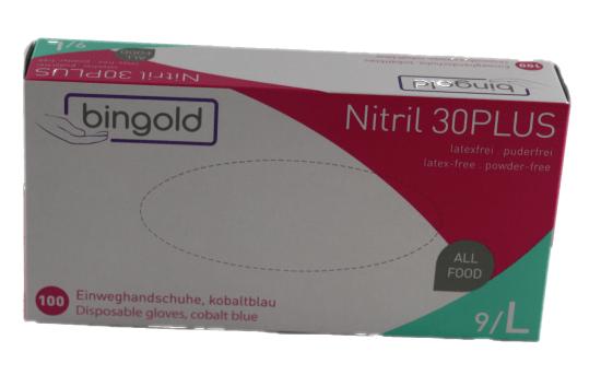 Einweghandschuhe Nitril Bingold 30Plus Größe L blau 100 Stück/ Box