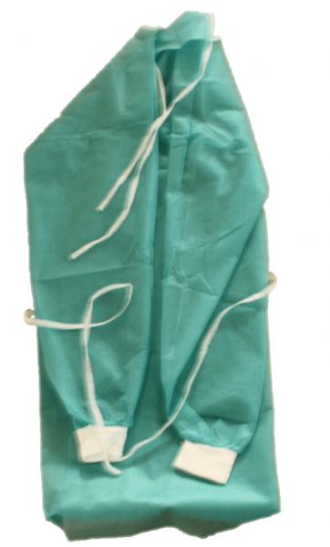 Einweg-Schutzkittel 25 g/sqm DIN EN 13795-2:2019-06 polipropylene Vlies Spunbond grün zum binden