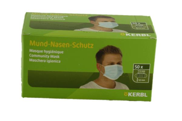 Mundschutz - Nasenschutz Einweg Kerbl 3 lagig blau 50 Stück kein Medizinprodukt