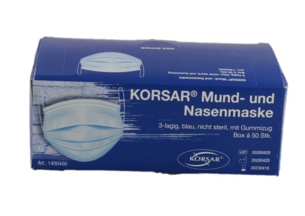 Mundschutz - Nasenmaske Einweg 3 lagig blau 50 Stück kein Medizinprodukt