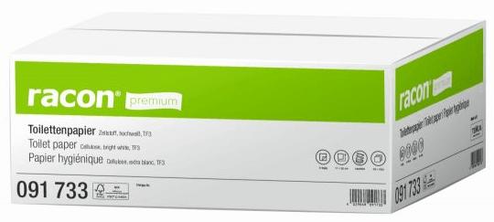 Temca racon Einzelblatt Toilettenpapier 2-lag.weiß Format: 11cmx22cm,