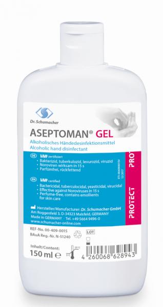 Aseptoman Gel 150 ml Händedesinfektionsgel Kittelflasche viruzid