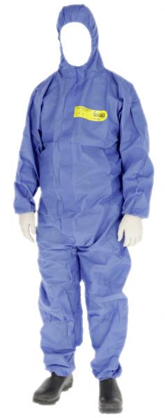 Chemieschutzoverall blau CoverBase 3-teilige Kapuze PSA Kategorie III, Typ 5+6 EN-13034-1 XXL