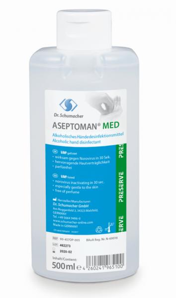 Aseptoman Med 500 ml Alkoholisches Händedesinfektionsm. rückfettend