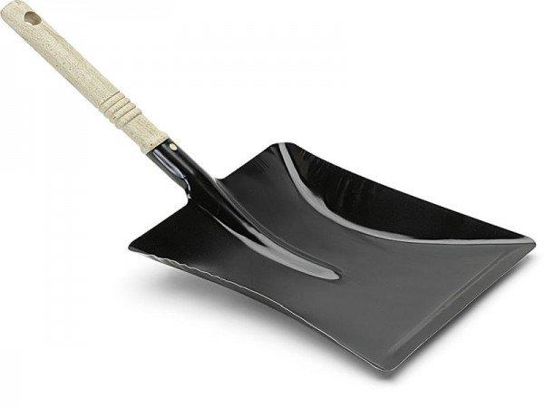Kehrschaufel Metall schwarz mit Holzgriff