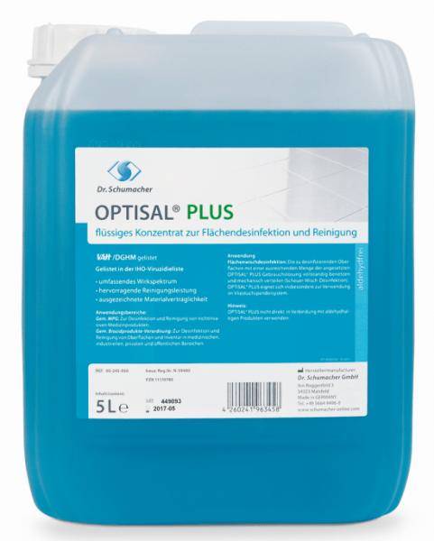 Dr. Schumacher Optisal Plus 5 Liter Kanister Konzentrat zur Flächendesinfektion und Reinigung Listung: VAH, IHO begrenzt viruzid plus
