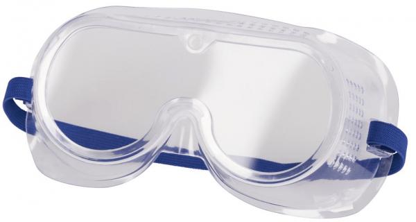 Vollsichtbrille mit direkter Belüftung Fassung aus PVC, Gläser aus Polycarbonat über Korrektionsbrillen überziehbar