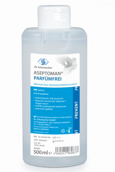 Dr. Schuhmacher Aseptoman Parfümfrei 500 ml Spenderflasche Alhoholische Händedesinfektions rückfettend
