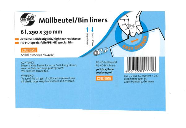Müllbeutel grau 6 Liter Universal 290x330mm, 30 Roll. a 50 Stück. 44901 Deiss