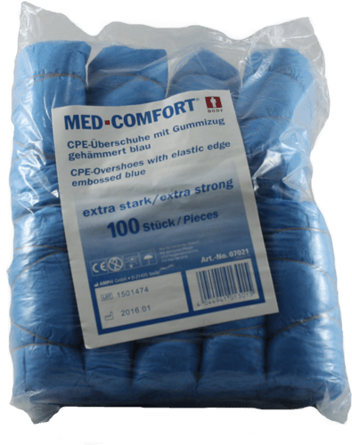 Einwegüberschuhe CPE blau extra Strak 100 Stück