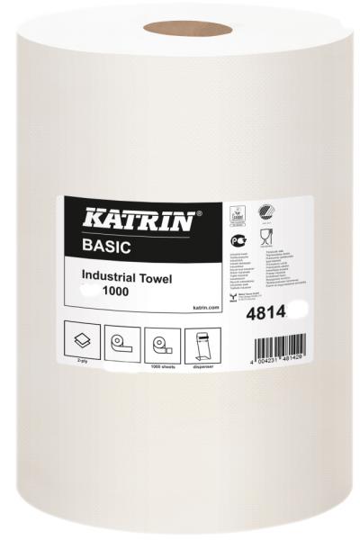 KATRIN XXL2 Putzpapier Rolle weiß 1000 Abrisse 38x38cm 2-lag. VE 2 Rollen 48141 Nordvlies