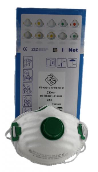 FFP2 Atemschutzmaske mit Ventil FFP2 Schutzmaske VE 15 Stück Karton