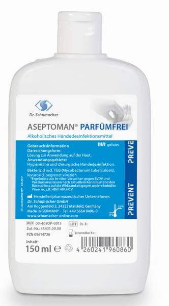 Dr. Schuhmacher Aseptoman Parfümfrei 150 ml Kittelflasche Alhoholische Händedesinfektions rückfettend