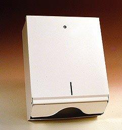 Papierhandtuchspender Metall weiß, groß für V- und C-Falz.