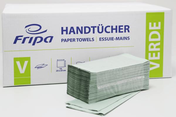 Papierhandtuch Verde grün 1 lagig 25 x 23 cm 5000 Blatt Fripa 4021101